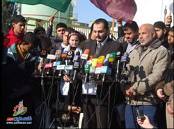 Ihab al-Ghussin, spokesman for the de-facto Hamas administration, holds a press conference at the Gaza Strip power plant.
