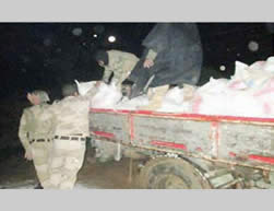 Sacks of APC explosives confiscated by the Egyptian security forces during a raid on a warehouse in Egyptian Rafah