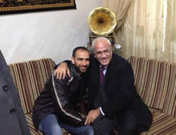 Saeb Erekat, a member of Fatah's Central Committee and chief Palestinian negotiator, visiting released terrorist operative Samer al-Issawi (Facebook page of Saeb Erekat, December 28, 2013).