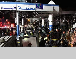 The gas station in Hermel near the site of the suicide bombing attack (Aleqt.com)