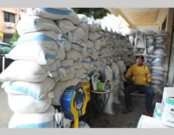 Sandbags protect the entrance to a store in the southern suburb of Beirut (Bintjbeil.org)