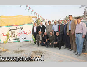 Palestinian Authority ministers visit Ein Hijla, an illegal Palestinian outpost in the Jordan Valley, to show their support.