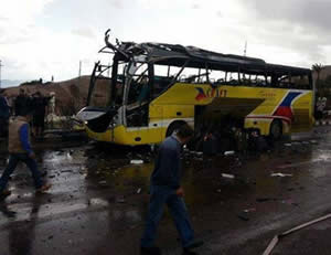 Terrorist attack carried out by the Ansar Bayt al-Maqdis, the most prominent terrorist organization affiliated the global jihad in the Sinai Peninsula, targeting a tourist bus on the Egyptian side of the Taba terminal