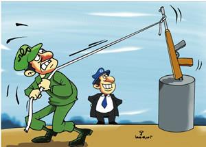 Cartoon by Omaya Joha criticizing the Egyptian ruling, which, according to the cartoon,  supports Israel in its struggle against the