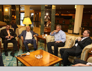 Jibril Rajoub and the Jordanian, Egypt and Tunisian ministers of sports in Jeddah (Facebook, March 17, 2014).