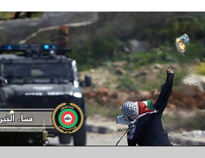 A masked Palestinian throws at Molotov cocktail at an Israeli police vehicle (Official Facebook page of the PA's national security forces, May 12, 2014)