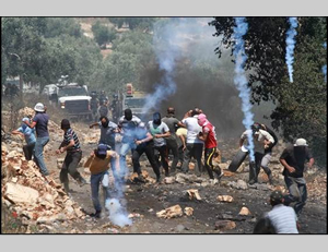 Rioting Palestinians confront Israeli security forces in the village of Qadoum (Qalqiliya district)  (Wafa.ps, May 23, 2014)
