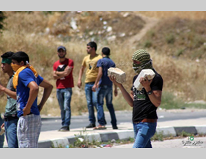 Palestinians confront Israeli security forces and torch fields near the Hawara roadblock (Nablus region) during a rally in support of the hunger-striking administrative detainees (Facebook page of the Islamic Block of the Al-Najah Al-Watani University, May 30, 2014).