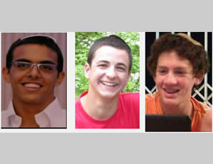 The three Israeli youths who were abducted and murdered. Left to right: Eyal Yifrah, Gil-Ad Shaer, Naftali Frenkel
