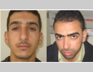 The two Palestinian terrorists suspected of the abduction and murder of the Israeli youths; they disappeared on the day of the abduction. Left: Marwan Qawasmeh. Right: Amer Abu Eisha (Paltoday.ps, June 26, 2014).