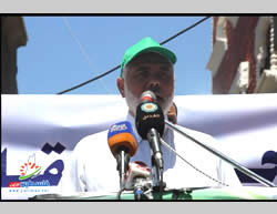 Ismail Haniya speaks at the opening ceremony of the Al-Shati refugee camp summer camp.
