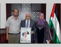 Muhammad Abu Khdeir's parents meet with Mahmoud Abbas in Ramallah (Wafa.ps, July 7, 2014).