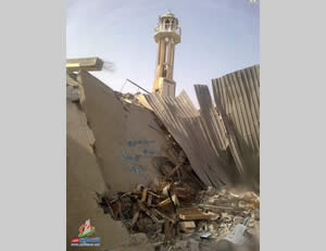 The Al-Farouq Mosque in the Nuseirat refugee camp after being attacked on July 12, 2014, by the Israel Air Force.