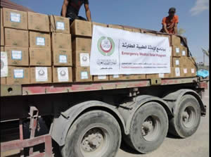 Delivering emergency aid from Egypt to the Gaza Strip through the Rafah crossing (Paltimes.net, July 15, 2014).