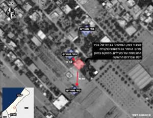 The house of Ibrahim al-Shawaf, attacked on July 8, 2014 (IDF video posted on YouTube, July 9, 2014)