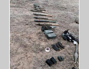 Some of the weapons found in the possession of the terrorist operatives.