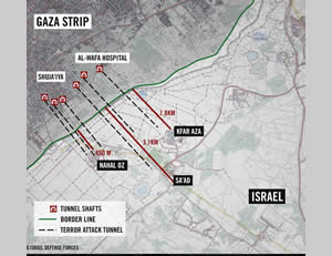 Mapping the tunnels leading into Israel (IDF Spokesman, July 25, 2014).