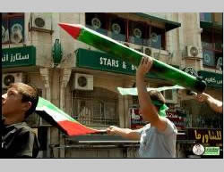 A march in Ramallah in support of the Gaza Strip organized by Hamas. Hamas-affiliated flags were carried and models of Hamas-made rockets were exhibited (Paltimes.net, August 9, 2014).