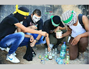 The Facebook page of the Islamic bloc in Al-Najah University posted a picture of Palestinians preparing Molotov cocktails with the caption