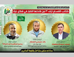 The death notice issued by the Izz al-Din al-Qassam Brigades. Left to right: Muhammad Ibrahim Shamallah, Ra'ed Subhi al-Attar, Muhammad Hamdan Barhoum (PALDF, August 21, 2014).