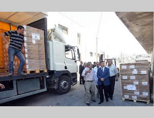 Donations of medicines and medical equipment organized by the PA ministry of health in Ramallah for the Gazans (Wafa.ps, August 20, 2014)