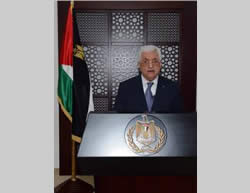 Abu Mazen making a speech declaring the ceasefire (Wafa News Agency, August 26, 2014).