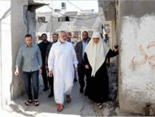 Ismail Haniya visiting the Shati refugee camp after the declaration of the ceasefire (Filastin Al-'Aan, August 29, 2014).