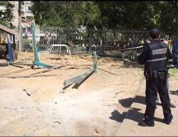 The remains of a rocket that fell in a kindergarten in Ashdod just hours before the ceasefire (Israel Police, August 26, 2014)