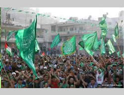 Victory rally organized by Hamas in Nablus (Facebook page of the Islamic Bloc at Al-Najah University, August 29, 2014)