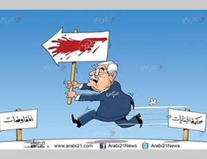 Caricature portraying Mahmoud Abbas as turning to the path of negotiations (the sign on the left) even though the blood of his people is directing him to the International Criminal Court in the Hague (the sign on the right). (arab21 website, 14 September, 2014)