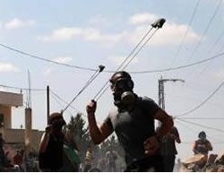 Stone throwers wearing gas masks at the weekly demonstration in Kfar Kadum next to Qalqilya (PALDF, September 12, 2014).