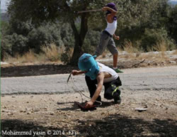 Masked children participate in the weekly riot in Bil'in (PALDF, September 19, 2014).