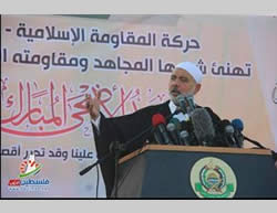 Ismail Haniya delivers a sermon for Eid al-Adha at the Yarmouk stadium in Gaza City (Paltimes.net, October 4, 2014).