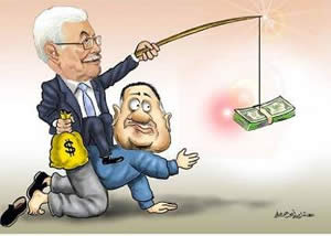 Cartoon from the Hamas-affiliated Felesteen. Mahmoud Abbas rides the back of a former Gazan government employee by waving money (October 2, 2014).