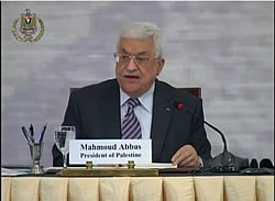 Mahmoud Abbas gives a speech at the conference.