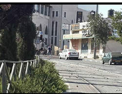 Rocks thrown in Jerusalem litter the street (Facebook page of the Israel Police Force, October 8, 2014)