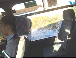 The bus attacked near Pisgat Zeev (Photo by Elad Diamant for Tazpit.org.il, October 22, 2014).