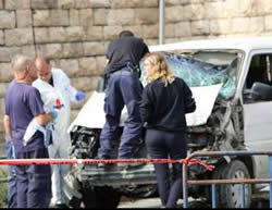 The car driven in the vehicular attack that killed a Border Police soldier and a 17 year-old boy, and wounded 12 people (Facebook page of the Israel Police Force, November 5, 2014).