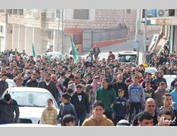 A solidarity demonstration for Al-Aqsa mosque organized by Hamas in Hebron (PALDF, November 21, 2014).