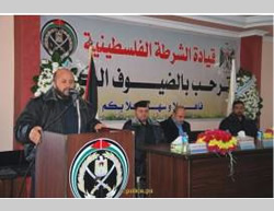 The reception held for the returning police commander (Website of the Gaza police force, November 22, 2014)