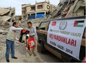 IHH activists distribute equipment to Gazans (Facebook page of PALINFO, December 20, 2014).