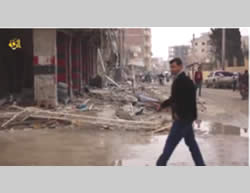 The destruction caused by air strikes in the city of Al-Raqqah (from a video distributed by ISIS, December 20, 2014).
