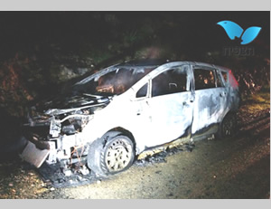 The family car destroyed by fire resulting from a Molotov cocktail thrown near the village of Maaleh Shomrom (east of Qalqiliya).