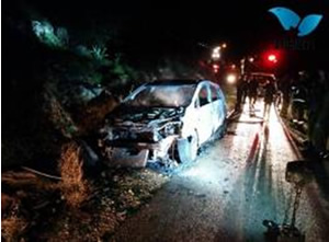 The car destroyed by a Molotov cocktail  (Photo by Yair Shoham forTazpit.org.il, December 25, 2014)