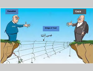 The lack of trust between Ramallah and Gaza (Facebook page of PALINFO, December 31, 2014)
