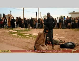 The beheading of a lawyer with a sword.