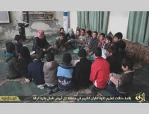 Quran memorization class north of the province of Al-Raqqah (Twitter account affiliated with ISIS, January 13, 2015)