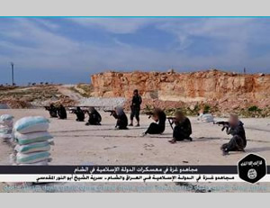 Operatives from the Gaza Strip training with the Sheikh Abu Nur al-Maqdisi Company (Twitter account affiliated with ISIS, January 22, 2015)