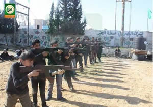 Rifle practice for youths at a training camp in the northern Gaza Strip (Facebook page of PALDF, January 22, 2015)