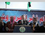Senior Hamas figure Salah al-Bardawil delivers a speech at the rally (Facebook page of PALINFO, February 6, 2015)